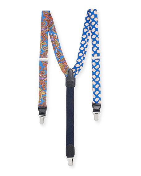 Etro Bretelle Paisley Silk Suspenders, Blue