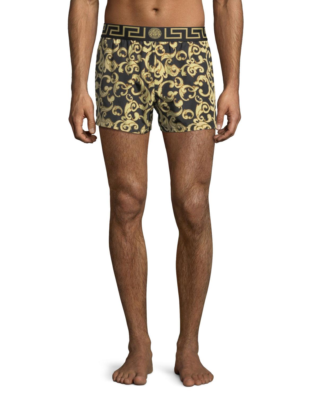 9b5de86476536 Versace Barocco Net Short Swim Trunks | Neiman Marcus