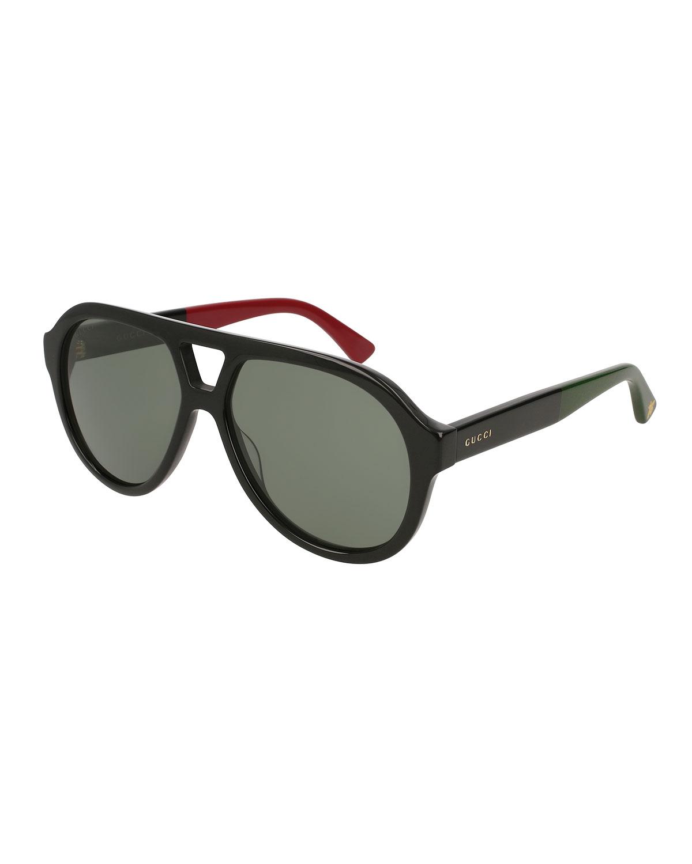 b04386da0e0 Gucci Men s Acetate Aviator Sunglasses