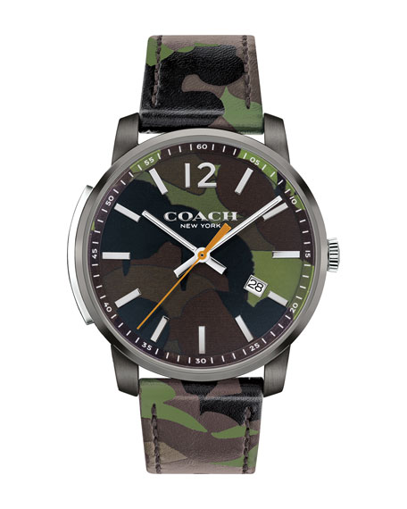 42mm Camouflage Bleecker Slim Men's Watch, Green