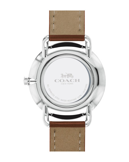 40mm Delancey Slim Leather Watch, Saddle