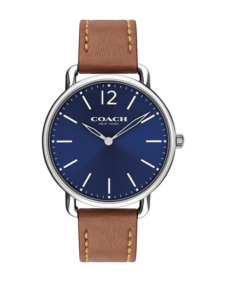40mm Delancey Slim Leather Watch, Saddle