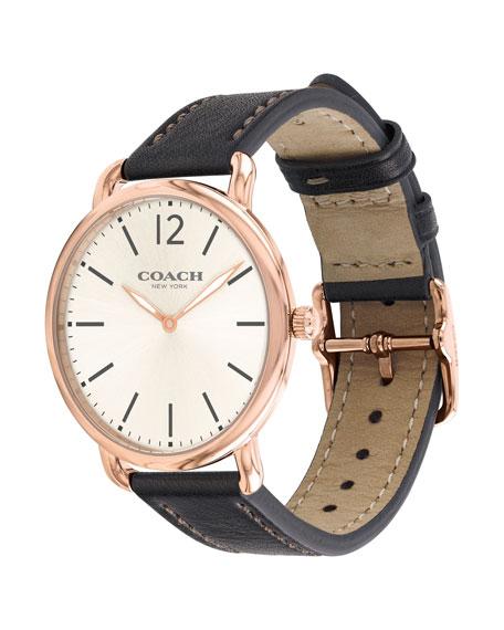 40mm Delancey Slim Leather Watch, Dark Brown