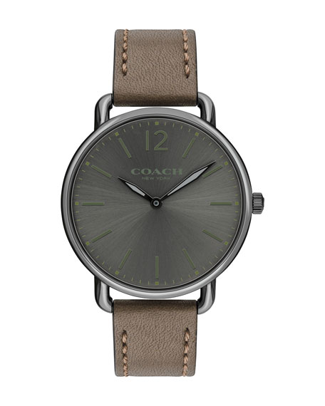 40mm Delancey Slim Leather Watch, Dark Green