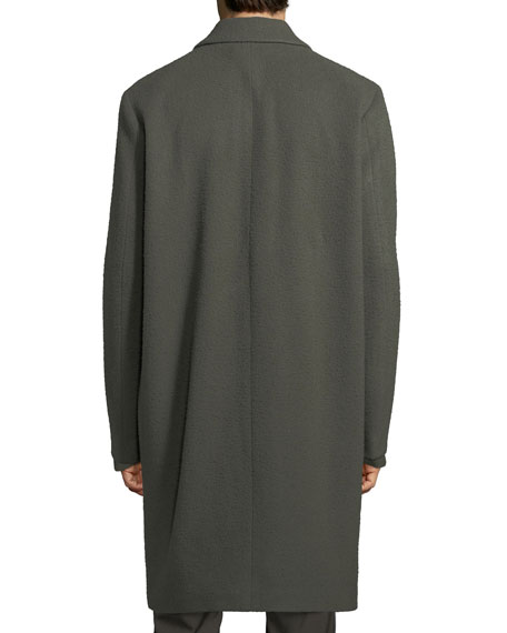 Distressed Wool-Blend Car Coat