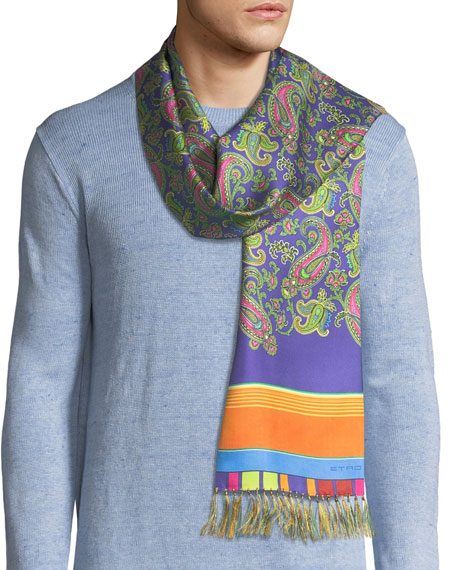 Etro Sciarpa Men's Paisley and Stripe Fringe Scarf