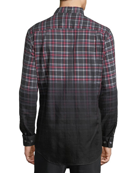 Enver Ombré-Plaid Sport Shirt