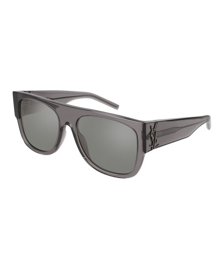 Saint Laurent Translucent Acetate Flat-Top Sunglasses