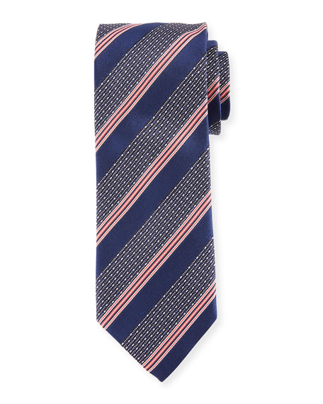 Wide Broken Stripe Silk Tie