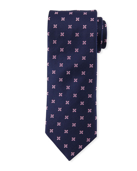 Eton Floral-Pattern Open-Ground Silk Tie