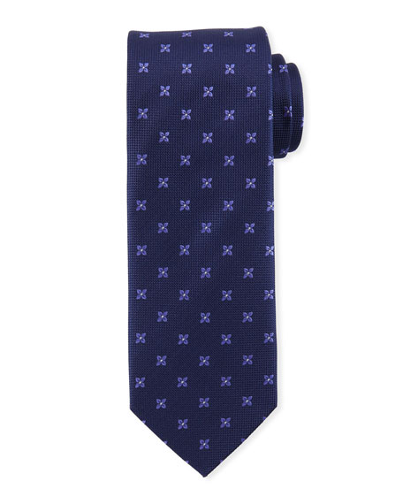 Eton Floral-Pattern Open-Ground Silk Tie, Purple