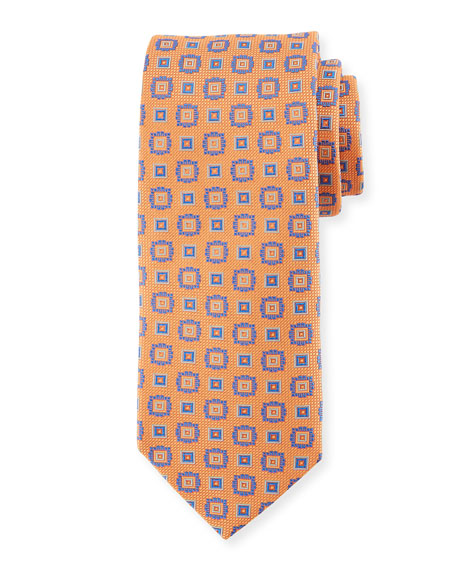 Eton Square Medallion Silk Tie, Orange