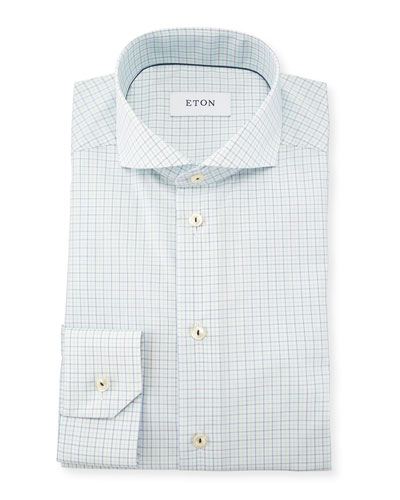 Slim Fit Tattersall Dress Shirt, Green