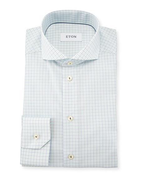 Slim Fit Tattersall Dress Shirt, Green