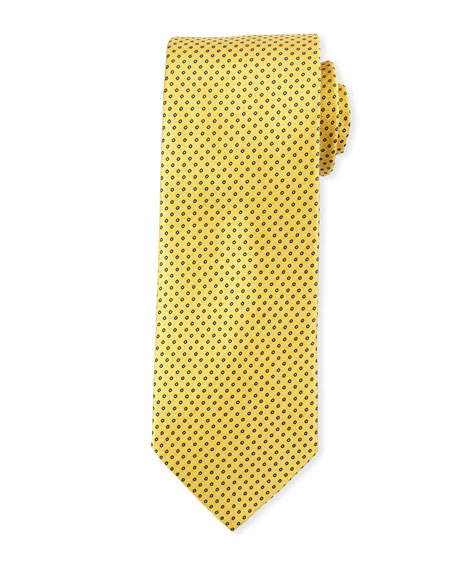 Eton Mini Coffee Bean-Pattern Silk Tie, Yellow