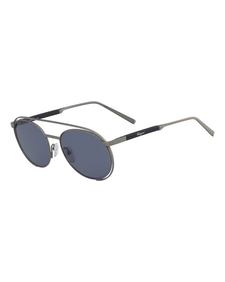 Salvatore Ferragamo Men's Round Metal Aviator Sunglasses