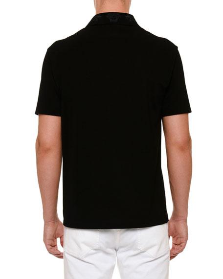 Embroidered-Collar Polo Shirt
