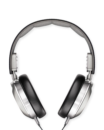 Leather Over-Ear Headphones, Black/Silver