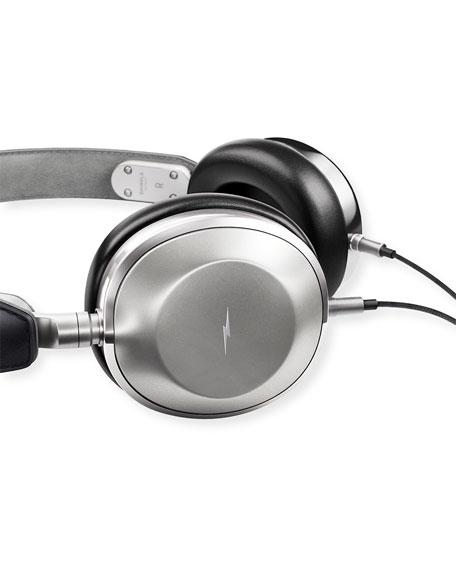 Leather Over-Ear Headphones, Black/Silver