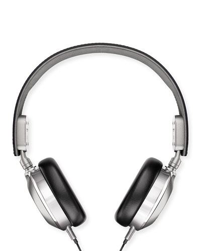 Leather On-Ear Headphones, Black/Silver
