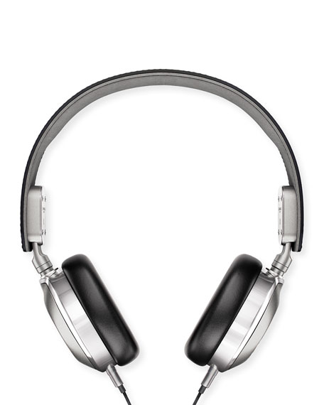 Men's Leather On-Ear Headphones, Black/Silver