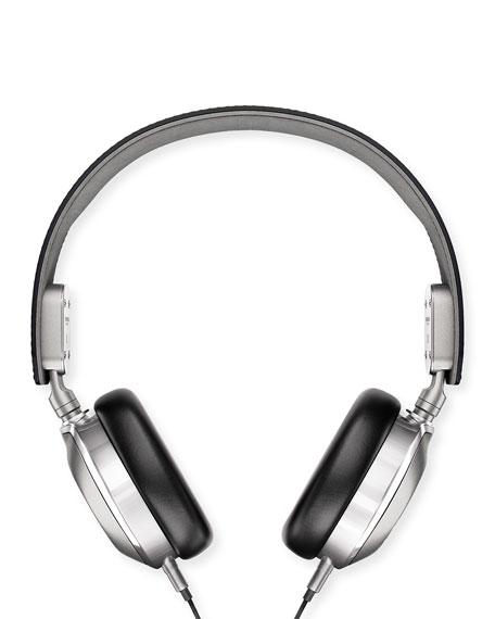 Shinola Men's Leather On-Ear Headphones, Black/Silver