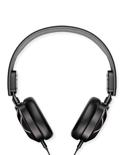 Leather On-Ear Headphones, Black