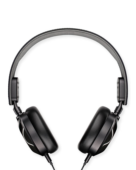 Men's Leather On-Ear Headphones, Black