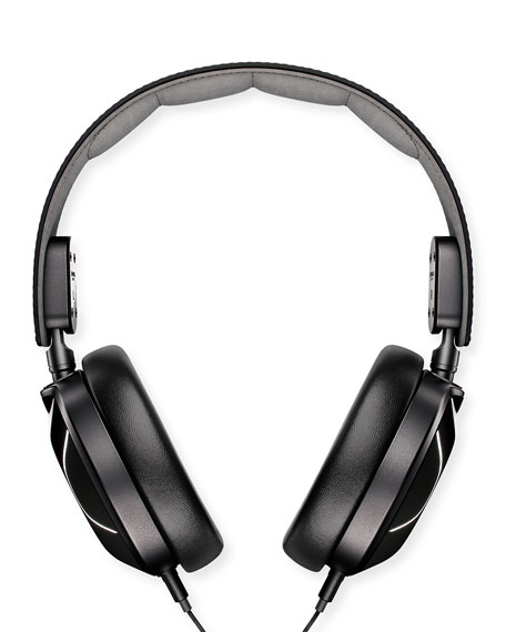 Men's Leather Over-Ear Headphones, Black