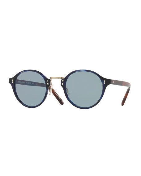 Oliver Peoples 30th Anniversary Round Sunglasses, Cobalt