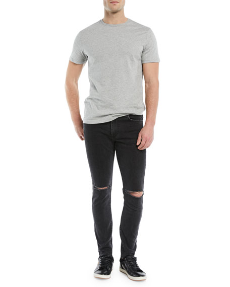Men's Helio Checker-Stripe Slim-Fit Distressed Jeans
