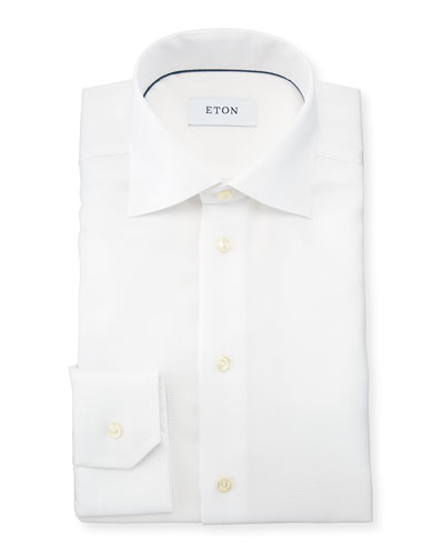 Slim-Fit Textured Cotton Dress Shirt, White