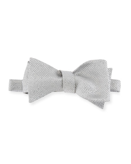 Metallic-Knit Bow Tie, Silver