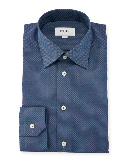 Eton Slim-Fit Texture Diamond-Pattern Dress Shirt, Blue
