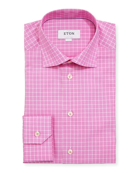 Eton Box-Check Cotton Dress Shirt