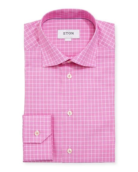 Box-Check Cotton Dress Shirt