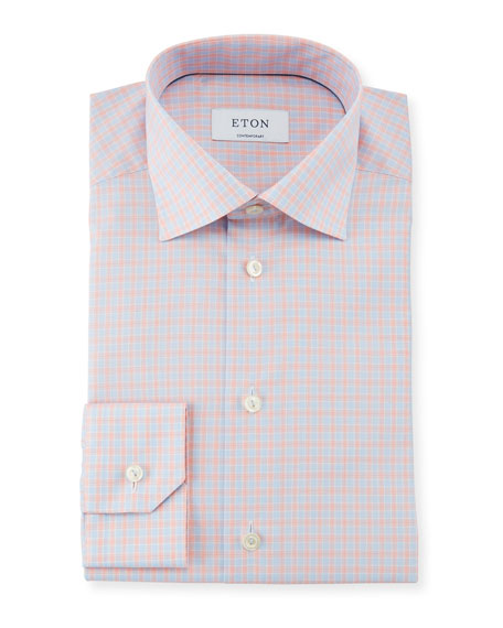 Eton Contemporary Fit Tattersall Cotton Dress Shirt