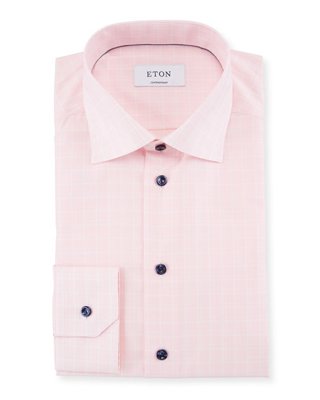 Contrast-Button Plaid Dress Shirt