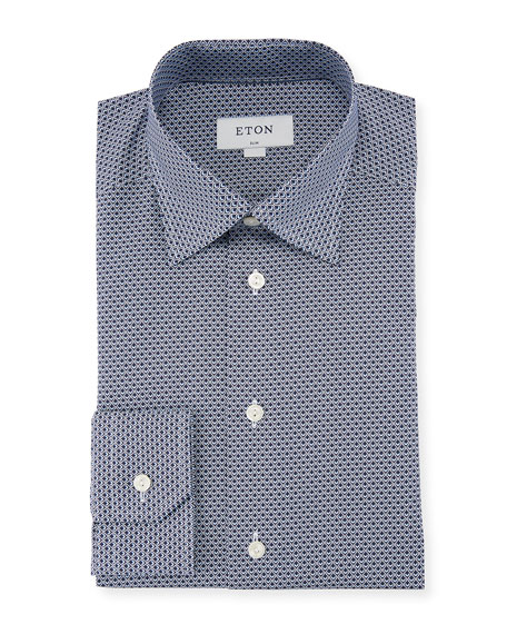 Eton Peacock-Print Cotton Dress Shirt