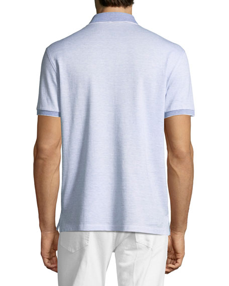 Striped Linen-Blend Polo Shirt, Blue/White