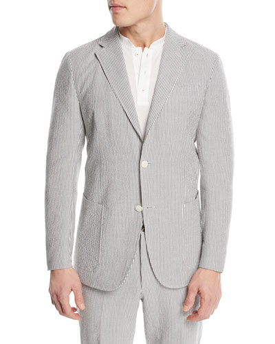 Striped Seersucker Two-Button Blazer