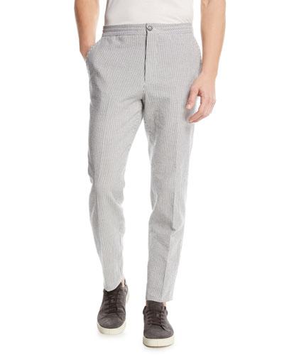 Striped Seersucker Straight-Leg Pants