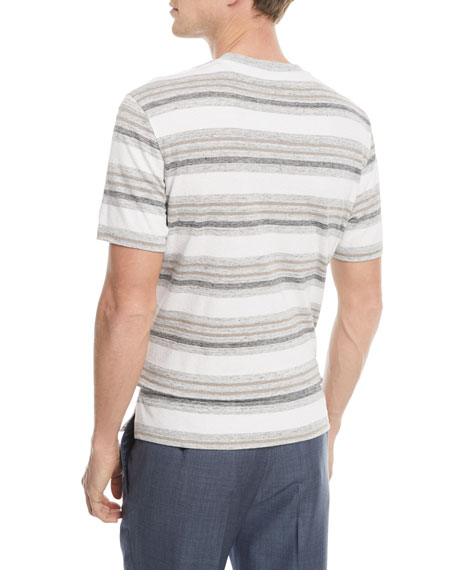 Linen-Blend Textured Stripe T-Shirt