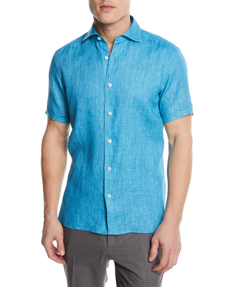 Solid Linen Short-Sleeve Sport Shirt