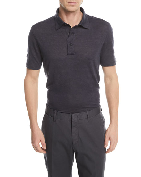 Solid Linen Polo Shirt