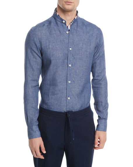 Heathered Linen Band-Collar Sport Shirt