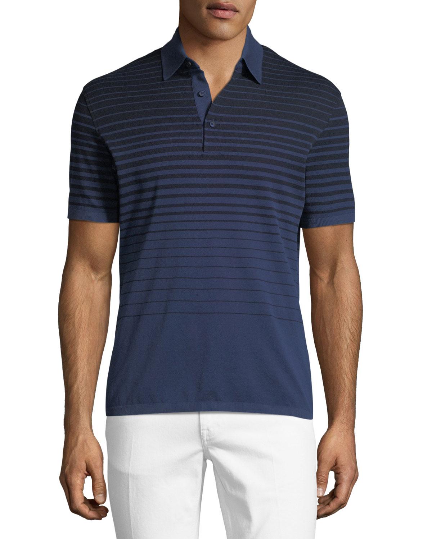 c9227e6bbe Ermenegildo Zegna Striped Polo Shirt, Blue/Black | Neiman Marcus