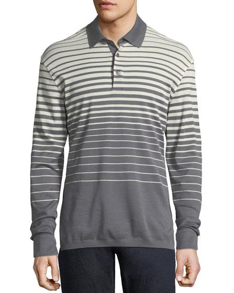 Long-Sleeve Striped Polo Shirt