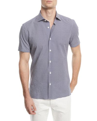 Graphic Seersucker Short-Sleeve Sport Shirt