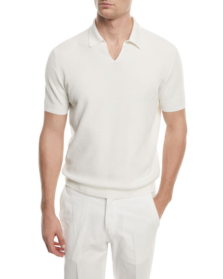 Ermenegildo Zegna Split-Collar Knit Polo Shirt